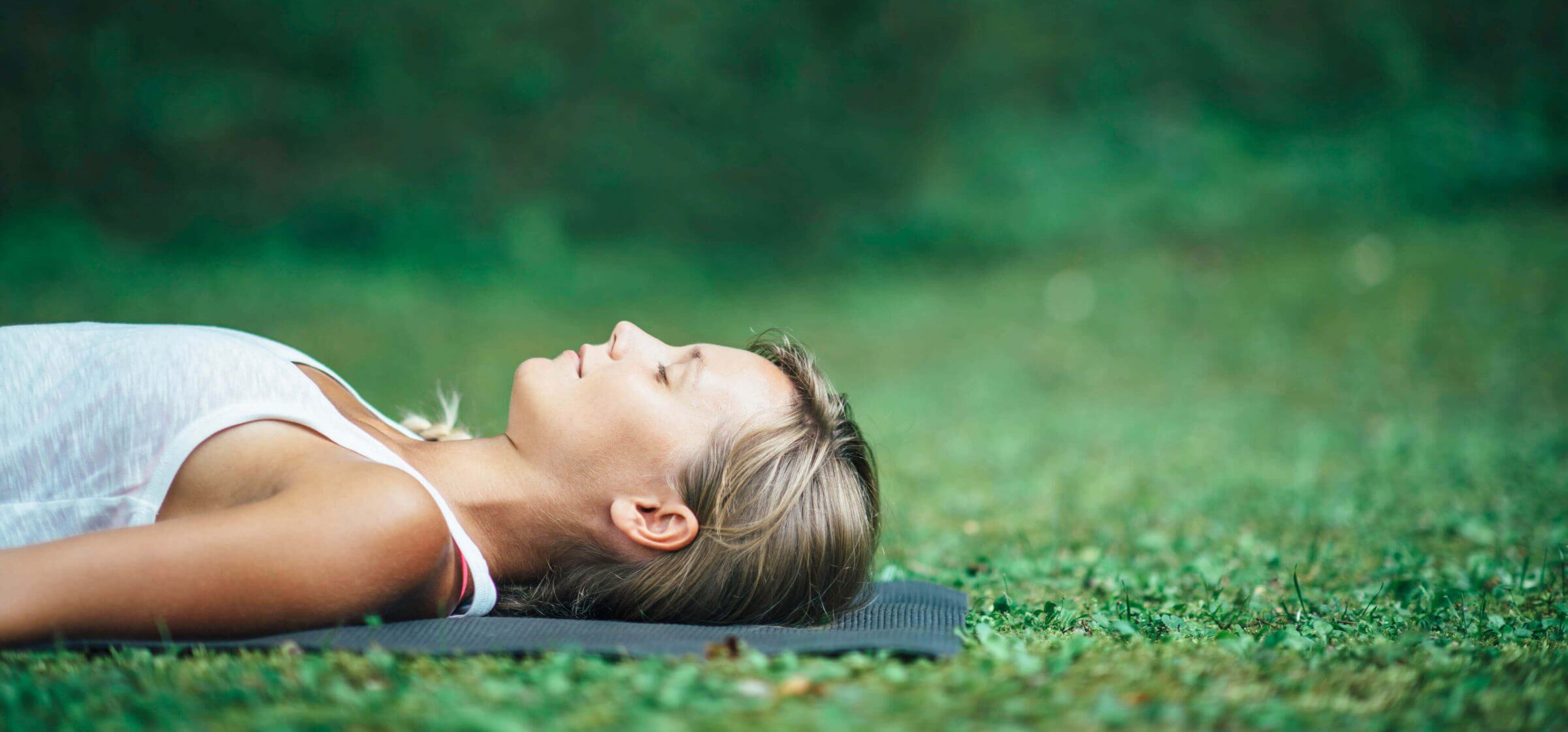 outdoor shavasanah on the yoga mat